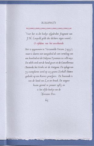 LEOPOLD, J.H. - De Som Van Uw Bestaan