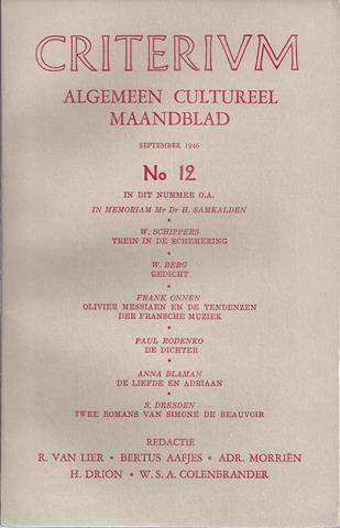 RODENKO, PAUL 'DE DICHTER', W.B.YEATS, W.SCHIPPERS, ANNA BLAMAN, E.A.: BIJDRAGEN - Criterium, Algemeen Cultureel Maandblad