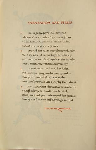 FOCQUENBROCH, W.G.VAN - Sarabanda Aan Fillis