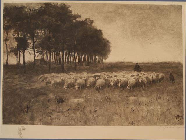 MAUVE, ANTON (OORSPRONKELIJKE SCHILDERIJ) - (Schaapskudde, Herder En Bosrand, Met Een Molen Op de Achtergrond)