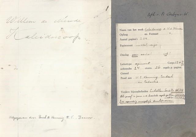 MÉRODE, WILLEM DE; PS. VAN W.E. KEUNING - Kaleidoscoop; Schrift Met Alle Gedichten + één, in Handschrift Van de Mérode